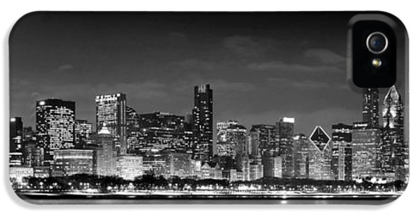 City iPhone 5 Cases - Chicago Skyline at NIGHT black and white iPhone 5 Case by Jon Holiday
