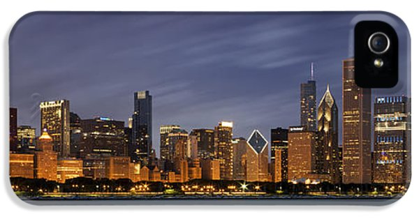 Chicago Skyline At Night Color Panoramic IPhone 5 / 5s Case by Adam Romanowicz