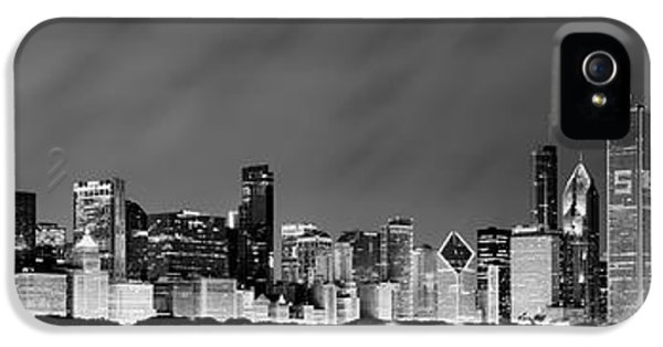 Office iPhone 5 Cases - Chicago Skyline at Night in Black and White iPhone 5 Case by Sebastian Musial