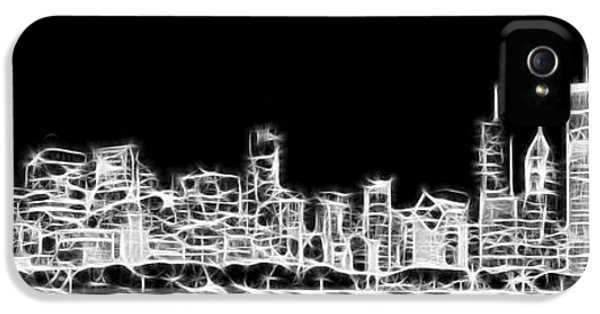Drive iPhone 5 Cases - Chicago Skyline Fractal Black and White iPhone 5 Case by Adam Romanowicz