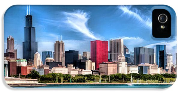 Chicago Skyline iPhone 5 Cases - Chicago Skyline Panorama iPhone 5 Case by Christopher Arndt