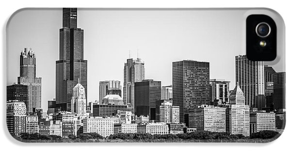 Lake Michigan iPhone 5 Cases - Chicago Skyline with Sears Tower in Black and White iPhone 5 Case by Paul Velgos