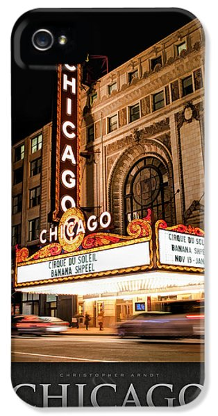 Build iPhone 5 Cases - Chicago Theatre Marquee Sign at Night Poster iPhone 5 Case by Christopher Arndt