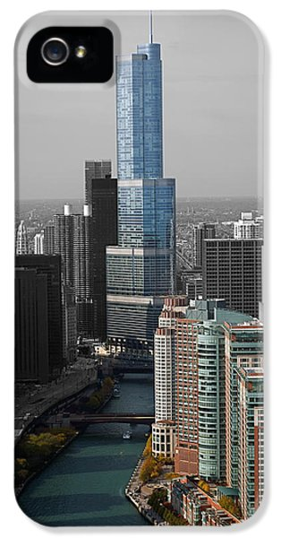 Central Il iPhone 5 Cases - Chicago Trump Tower Blue Selective Coloring iPhone 5 Case by Thomas Woolworth