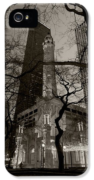 Illinois iPhone 5 Cases - Chicago Water Tower B W iPhone 5 Case by Steve Gadomski