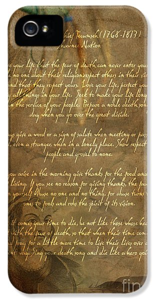Native American iPhone 5 Cases - Chief Tecumseh Poem iPhone 5 Case by Wayne Moran