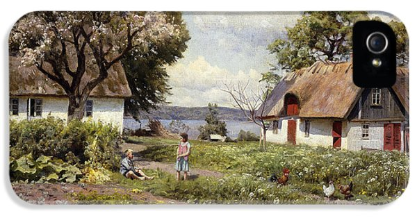 Allotment iPhone 5 Cases - Children in a Farmyard iPhone 5 Case by Peder Monsted