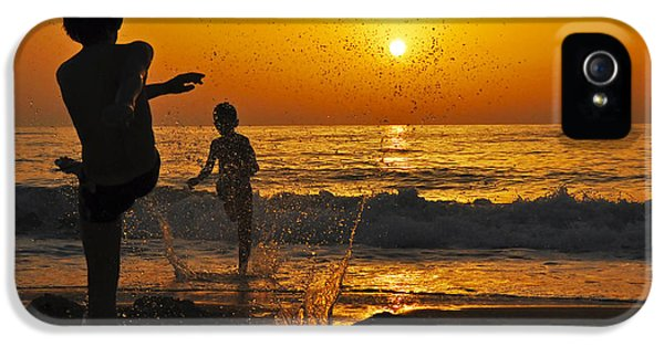 Boys Only iPhone 5 Cases - Children on the Beach at sunset iPhone 5 Case by Judith Katz