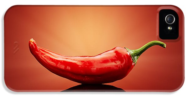 Indoors iPhone 5 Cases - Chilli on red reflective background iPhone 5 Case by Johan Swanepoel