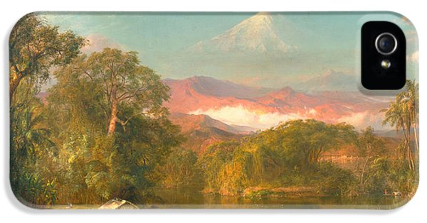 Land iPhone 5 Cases - Chimborazo iPhone 5 Case by Frederic Edwin Church