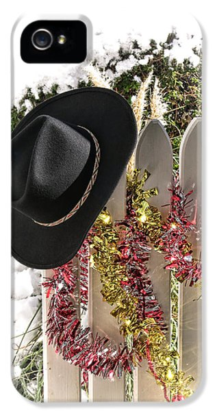 Porch iPhone 5 Cases - Christmas Cowboy Hat on a Fence iPhone 5 Case by Olivier Le Queinec