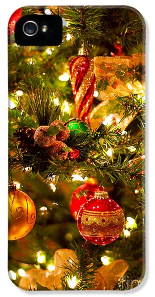 Wait iPhone 5 Cases - Christmas tree background iPhone 5 Case by Elena Elisseeva