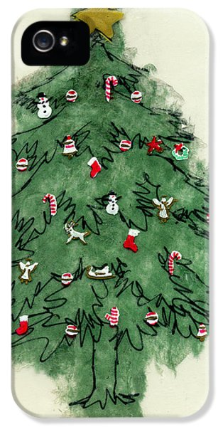Stockings iPhone 5 Cases - Christmas Tree iPhone 5 Case by Mary Helmreich