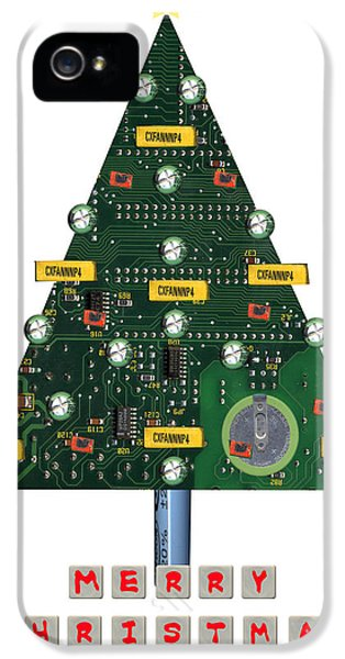 Element iPhone 5 Cases - Christmas Tree Motherboard iPhone 5 Case by Mary Helmreich