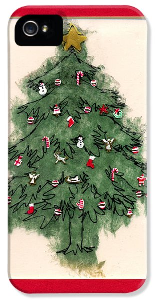 Stockings iPhone 5 Cases - Christmas Tree with Red Mat iPhone 5 Case by Mary Helmreich
