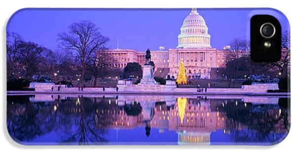 Senate iPhone 5 Cases - Christmas, Us Capitol, Washington Dc iPhone 5 Case by Panoramic Images