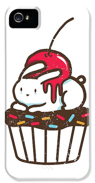 Cartooning iPhone 5 Cases - Chubby bunny on cupcake iPhone 5 Case by Budi Satria Kwan