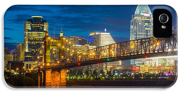 Reflective iPhone 5 Cases - Cincinnati Downtown iPhone 5 Case by Inge Johnsson