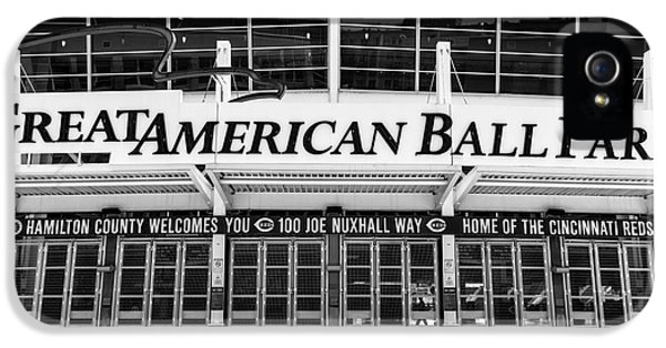 Ballpark iPhone 5 Cases - Cincinnati Great American Ball Park Black and White Picture iPhone 5 Case by Paul Velgos