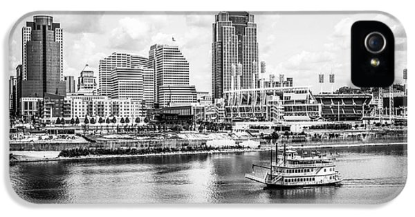 Ballpark iPhone 5 Cases - Cincinnati Skyline and Riverboat Black and White Picture iPhone 5 Case by Paul Velgos