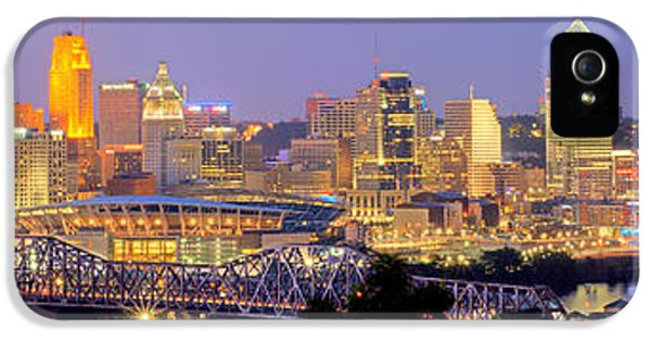 City Scene iPhone 5 Cases - Cincinnati Skyline at Dusk Sunset Color Panorama Ohio iPhone 5 Case by Jon Holiday