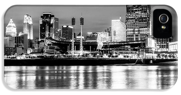 Ballpark iPhone 5 Cases - Cincinnati Skyline at Night Black and White Picture iPhone 5 Case by Paul Velgos