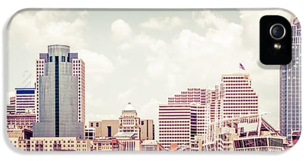 Ballpark iPhone 5 Cases - Cincinnati Skyline Panorama Vintage Photo iPhone 5 Case by Paul Velgos