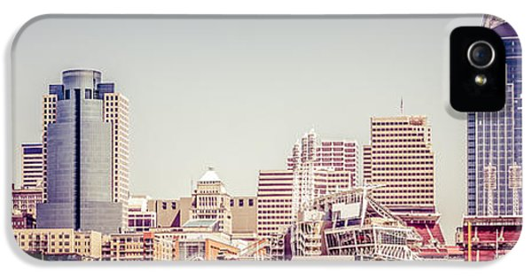 Ballpark iPhone 5 Cases - Cincinnati Skyline Retro Panorama Picture iPhone 5 Case by Paul Velgos