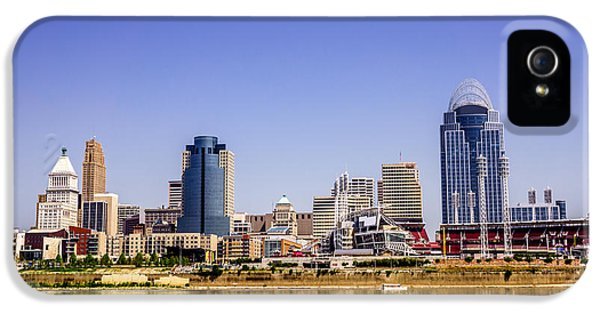 Ballpark iPhone 5 Cases - Cincinnati Skyline Riverfront Downtown Office Buildings iPhone 5 Case by Paul Velgos