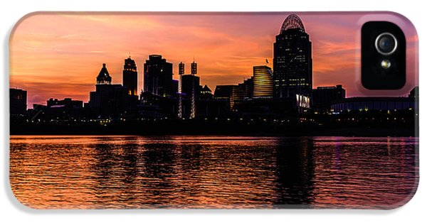 Ballpark iPhone 5 Cases - Cincinnati Skyline Sunset at Night iPhone 5 Case by Paul Velgos