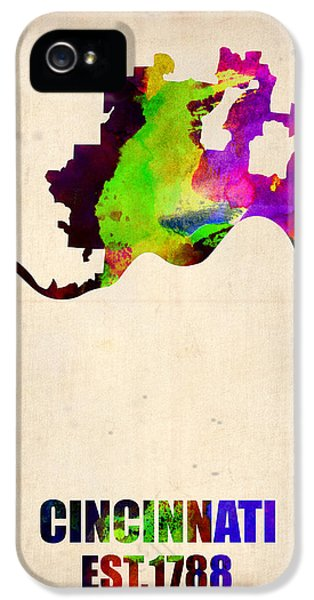Atlas iPhone 5 Cases - Cincinnati Watercolor Map iPhone 5 Case by Naxart Studio