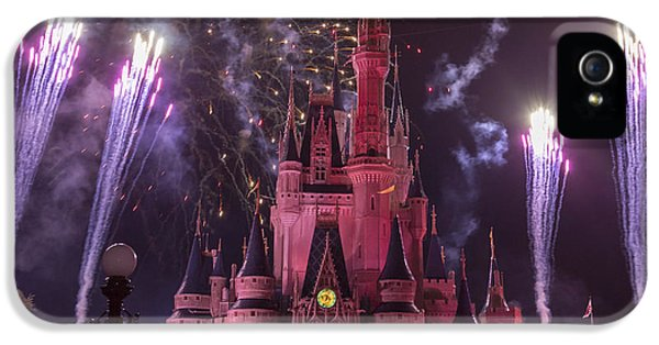 Firework iPhone 5 Cases - Cinderellas Castle with Fireworks iPhone 5 Case by Adam Romanowicz