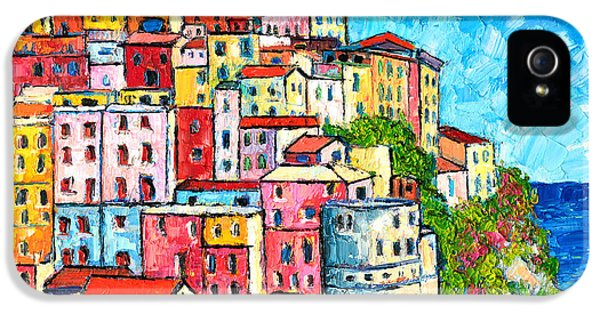 Oil House iPhone 5 Cases - Cinque Terre Italy Manarola Colorful Houses  iPhone 5 Case by Ana Maria Edulescu