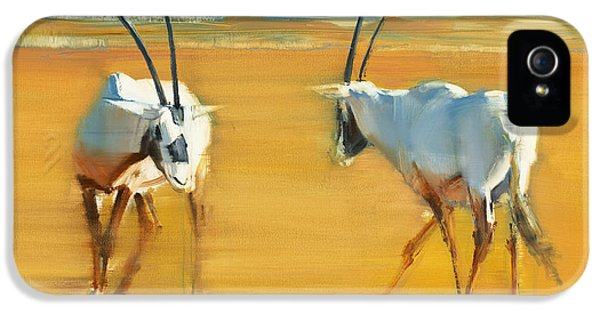 Circling iPhone 5 Cases - Circling Arabian Oryx iPhone 5 Case by Mark Adlington