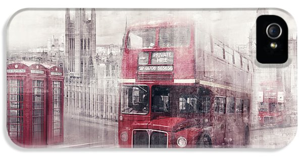 Decorative Art iPhone 5 Cases - City-Art LONDON Westminster Collage II iPhone 5 Case by Melanie Viola
