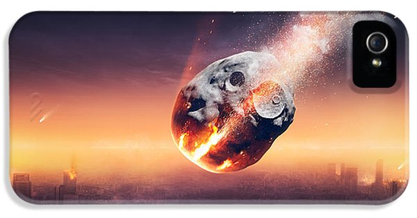 Burn iPhone 5 Cases - City destroyed by meteor shower iPhone 5 Case by Johan Swanepoel