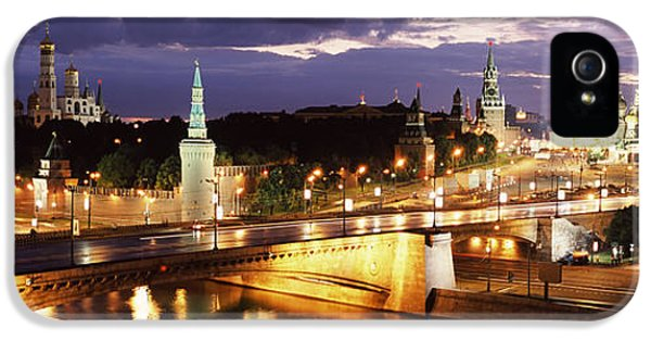 Moscow iPhone 5 Cases - City Lit Up At Night, Red Square iPhone 5 Case by Panoramic Images