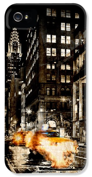 Yellow Taxi iPhone 5 Cases - City Streets  iPhone 5 Case by Az Jackson