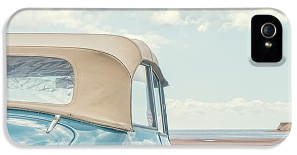 Prince iPhone 5 Cases - Classic Vintage Morris Minor 1000 Convertible at the beach iPhone 5 Case by Edward Fielding