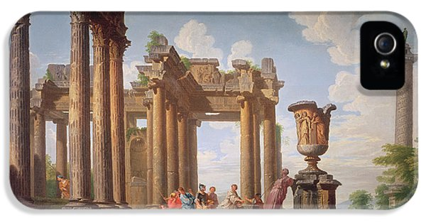 Ruins iPhone 5 Cases - Classical Scene iPhone 5 Case by Giovanni Paolo Pannini or Panini