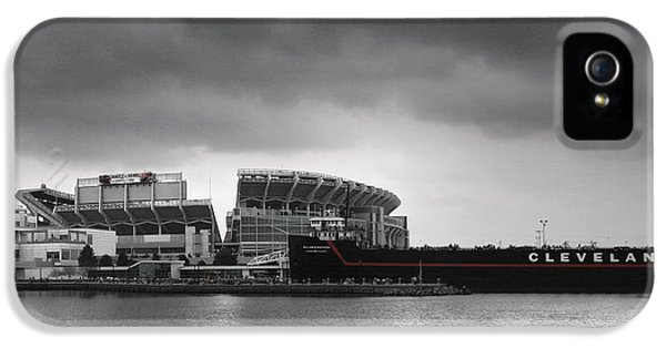 Ship iPhone 5 Cases - Cleveland Browns Stadium From The Inner Harbor iPhone 5 Case by Kenneth Krolikowski