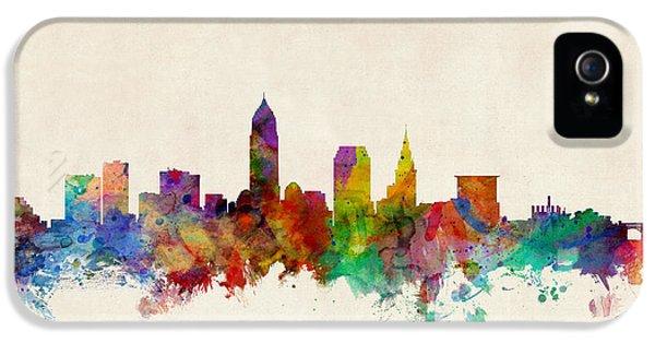 Skyline iPhone 5 Cases - Cleveland Ohio Skyline iPhone 5 Case by Michael Tompsett
