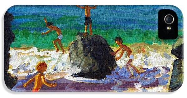 Playful iPhone 5 Cases - Climbing rocks Porthmeor beach St Ives iPhone 5 Case by Andrew Macara