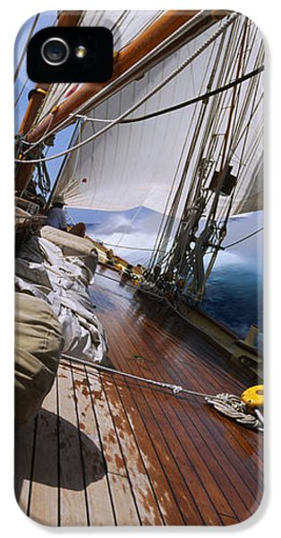 Point Of View iPhone 5 Cases - Close-up Of A Sailboat Deck iPhone 5 Case by Panoramic Images