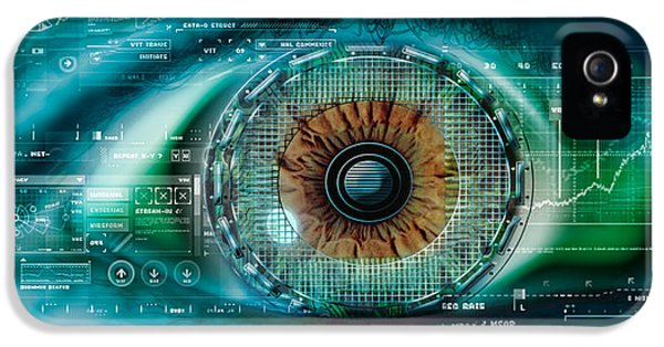 Eyeball iPhone 5 Cases - Close-up Of An Eye With Tech Diagrams iPhone 5 Case by Panoramic Images