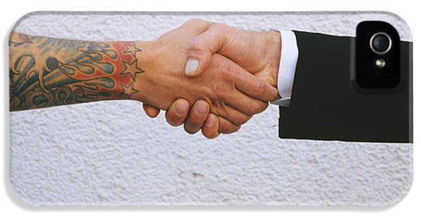 Cooperation iPhone 5 Cases - Close-up Of Two Men Shaking Hands iPhone 5 Case by Panoramic Images