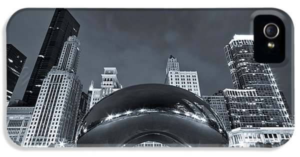 Cloud Gate iPhone 5 Cases - Cloud Gate and Skyline - Blue Toned iPhone 5 Case by Adam Romanowicz