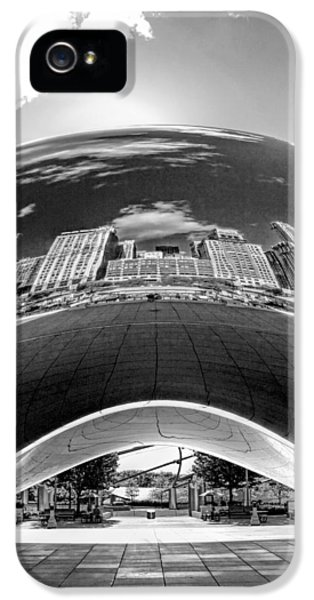 Cloud Gate iPhone 5 Cases - Cloud Gate Under the Bean Black and White iPhone 5 Case by Christopher Arndt