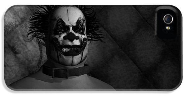 Lunacy iPhone 5 Cases - Clown in a Padded Cell - Black and White iPhone 5 Case by Robert Crepeau
