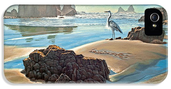Oregon Coast iPhone 5 Cases - Coast with Great Blue Heron iPhone 5 Case by Paul Krapf